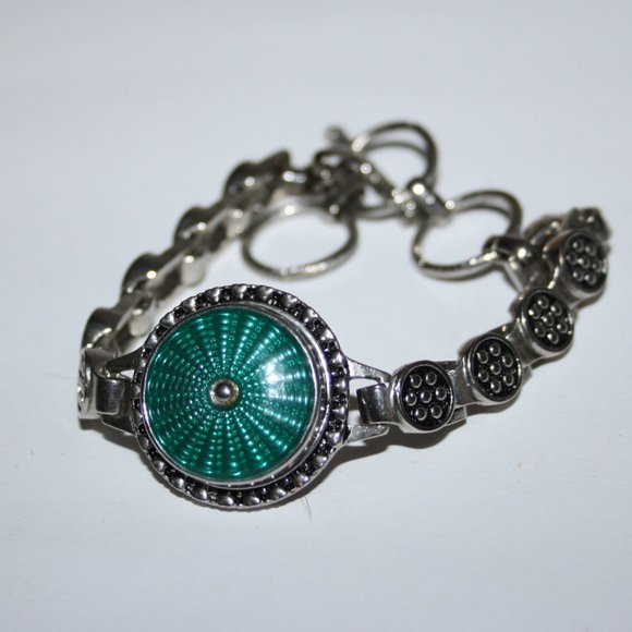 Beautiful silver and teal toggle bracelet